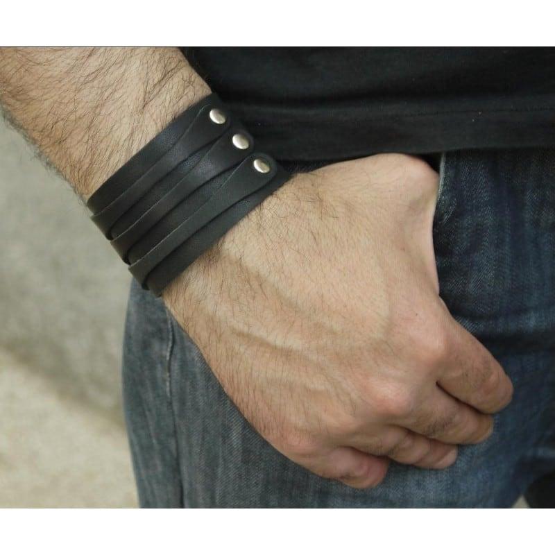 Браслет мужской кожа Royal Triplex black leather
