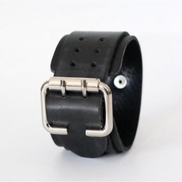Шкіряний браслет Perforate openwork black leather
