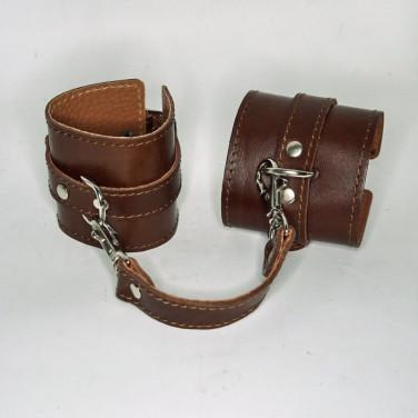 Кожаный браслет BDSM brown leather
