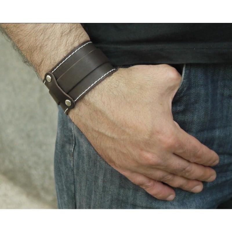 Чоловічий браслет шкіра Military Style black leather