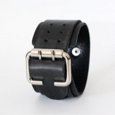 Кожаный браслет Perforate Openwork black leather
