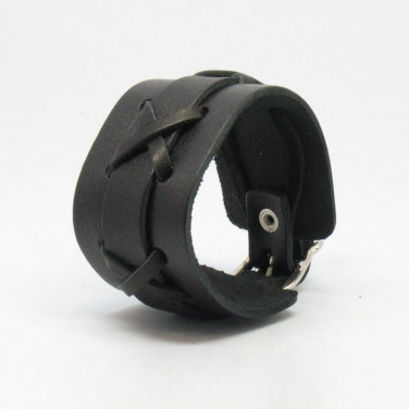Кожаный браслет мужской Cross Рattern black leather