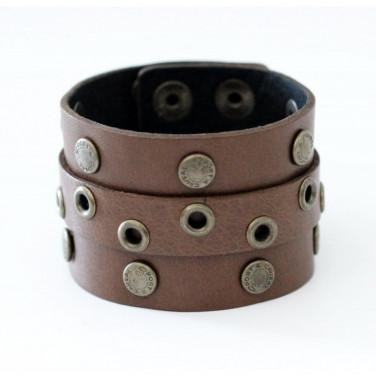 Кожаный браслет Eyelet Cuff brown leather