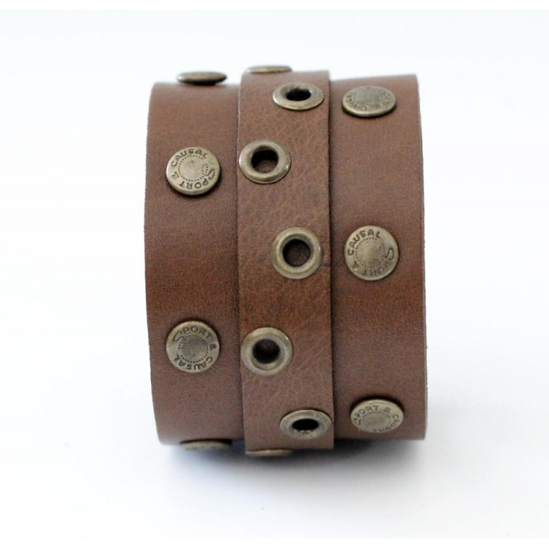 Шкіряний браслет Eyelet Cuff brown leather
