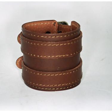 Чоловічий шкіряний браслет Twin Belt brown leather