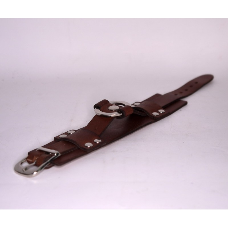 Браслет кожаный Silver Ring brown leather