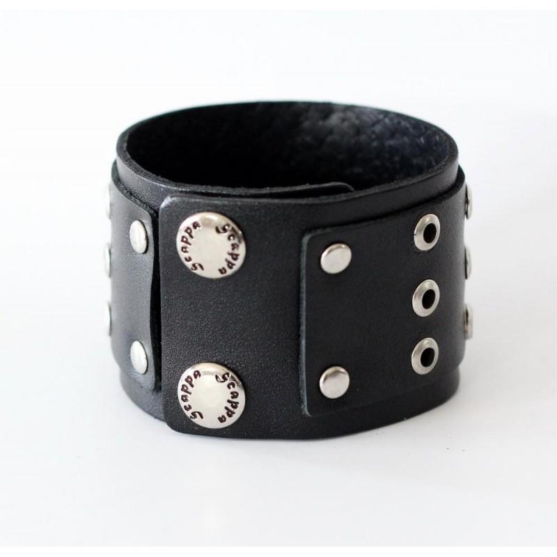 Шкіряна манжета Rock'n'roll black leather