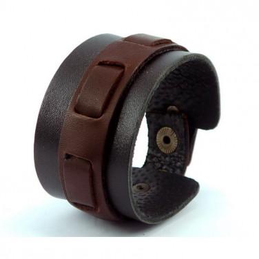 Кожаный мужской браслет Braided Patern black leather