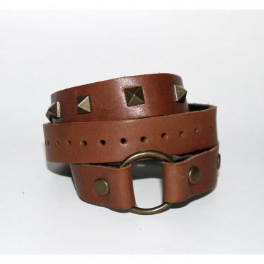 Мужской кожаный браслет Brass Thorn brown leather