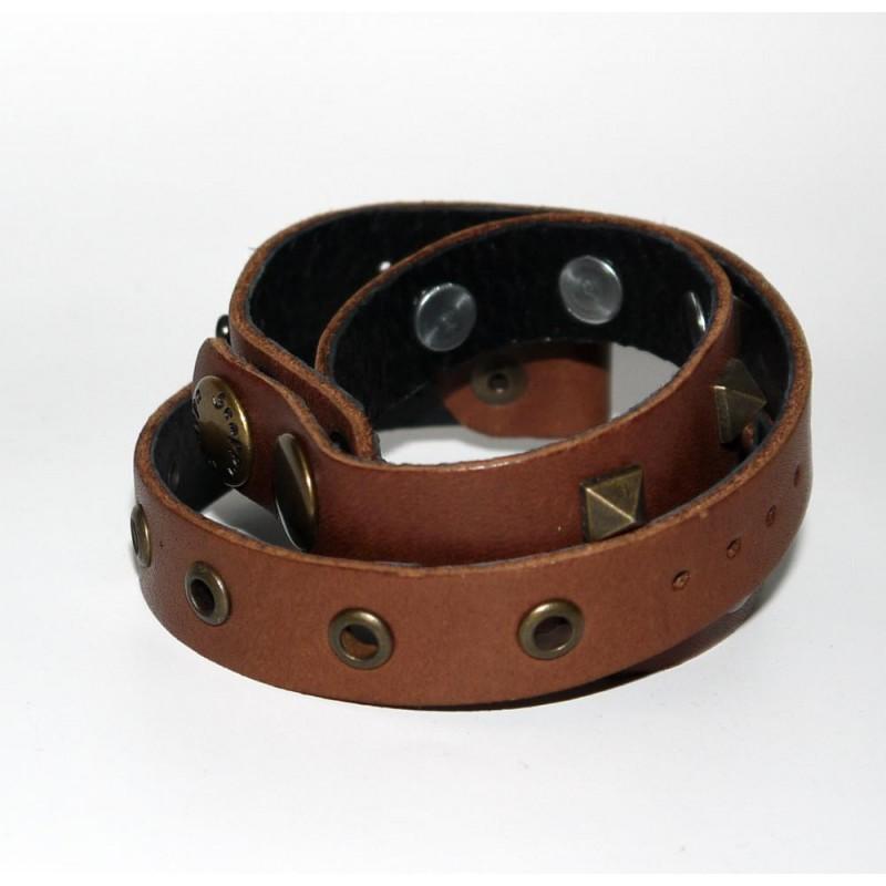 Чоловічий шкіряний браслет Brass Thorn brown leather