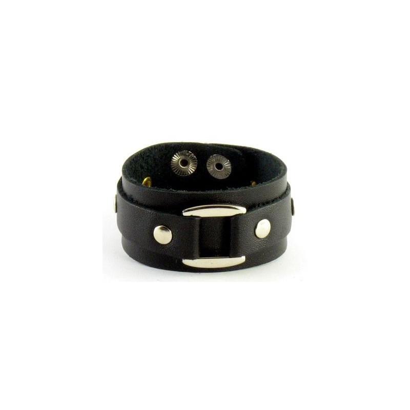 Чоловічий шкіряний браслет Сlamp black leather