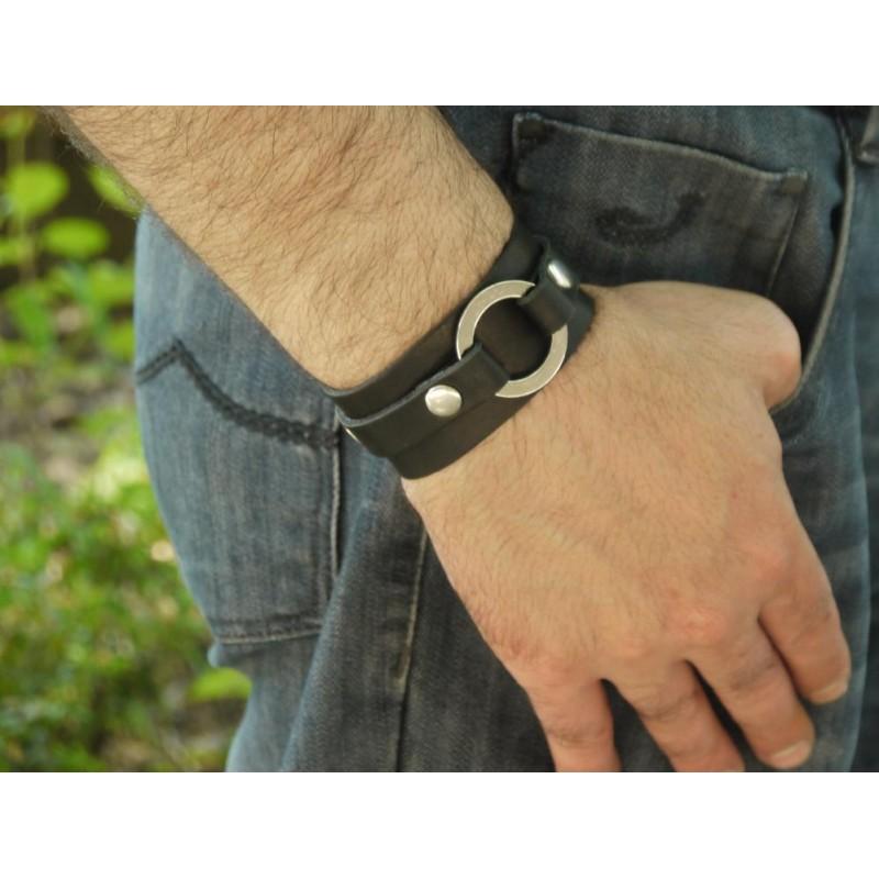Шкіряний браслет Сircle black leather