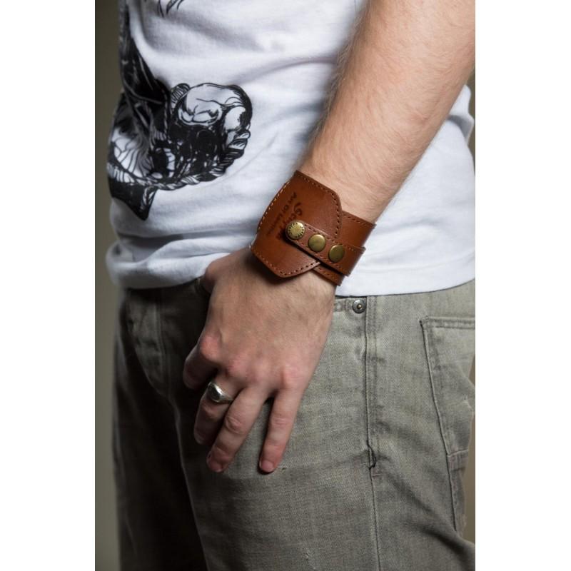 Чоловічий шкіряний браслет Girth brown leather