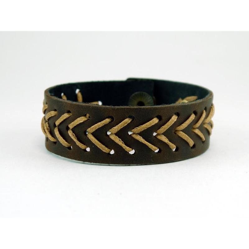 Браслет чоловічий шкіряний Golden Arrow brown leather
