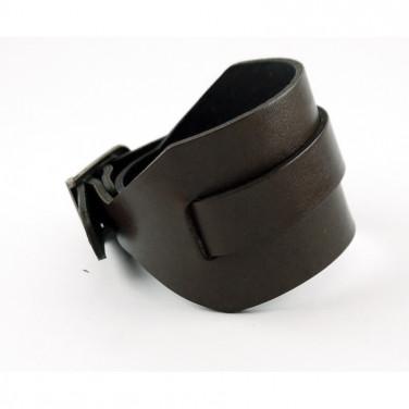 Кожаный браслет с пряжкой Industrial Modern black leather