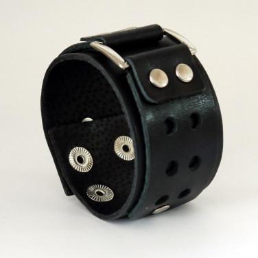 Чоловічий шкіряний браслет Perforated Pattern black leather