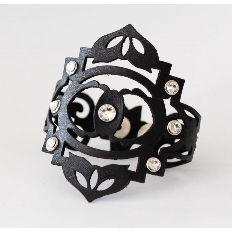 Жіночий браслет шкіра Boho black leather