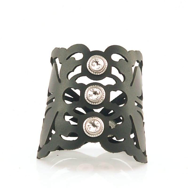 Шкіряний браслет жіночий Місті black leather