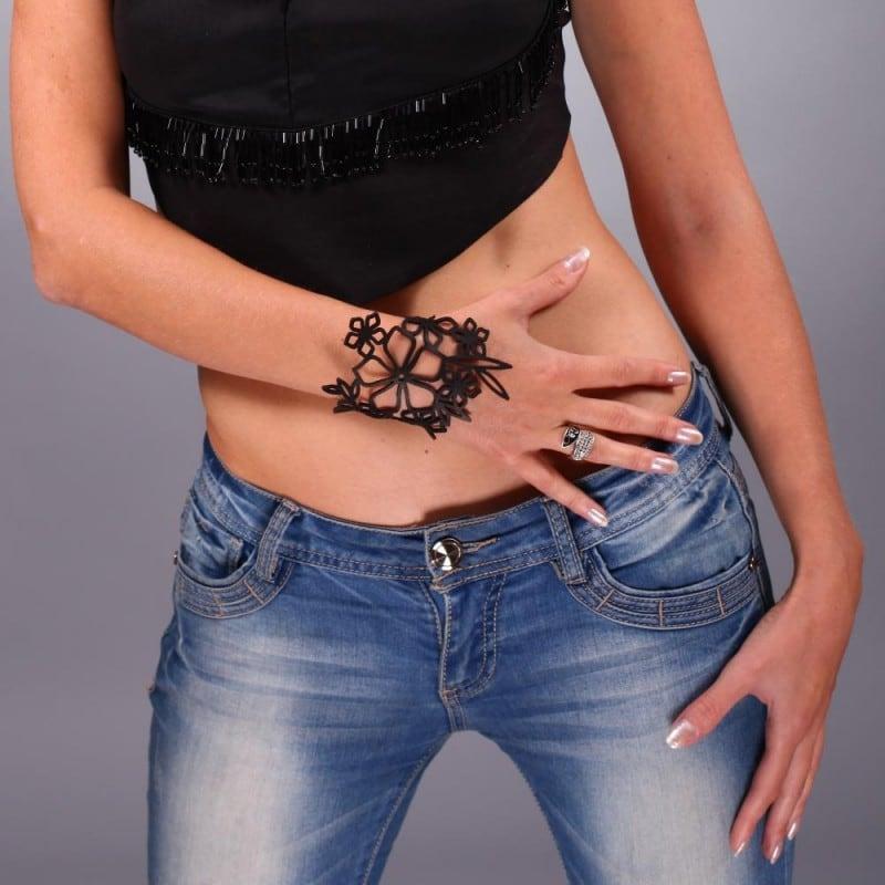 Шкіряний браслет Baroque black leather
