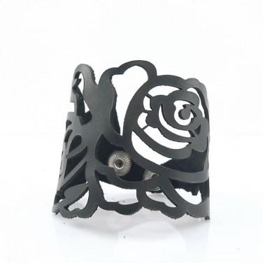 Браслет лазерна шкіра Floral Pattern Black Leather