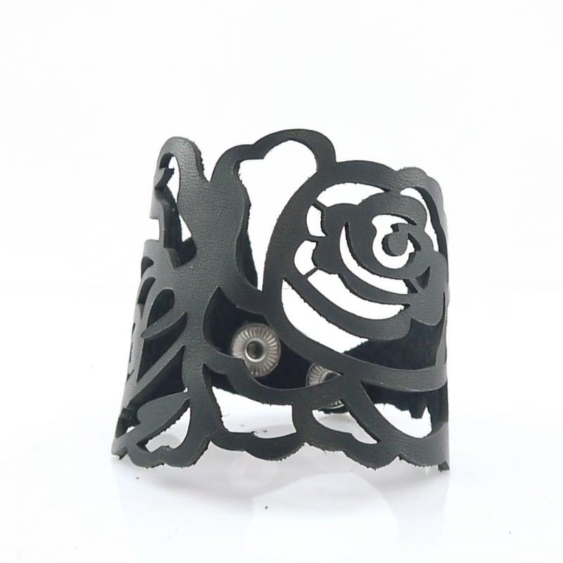 Браслет лазерная кожа Floral Pattern Black Leather