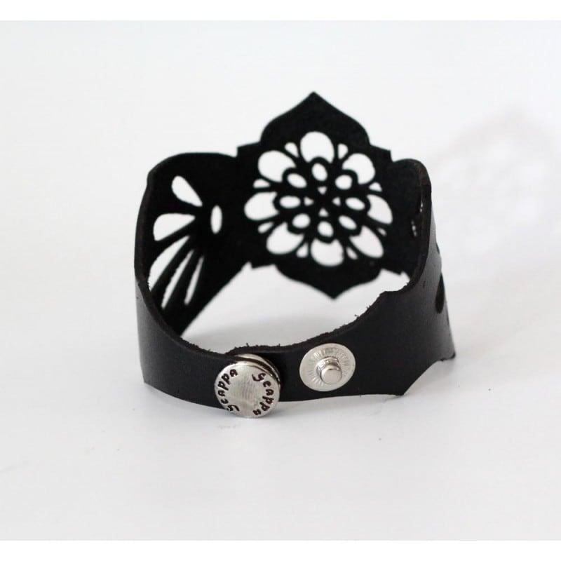 Браслет шкіряний жіночий Elven Style black leather