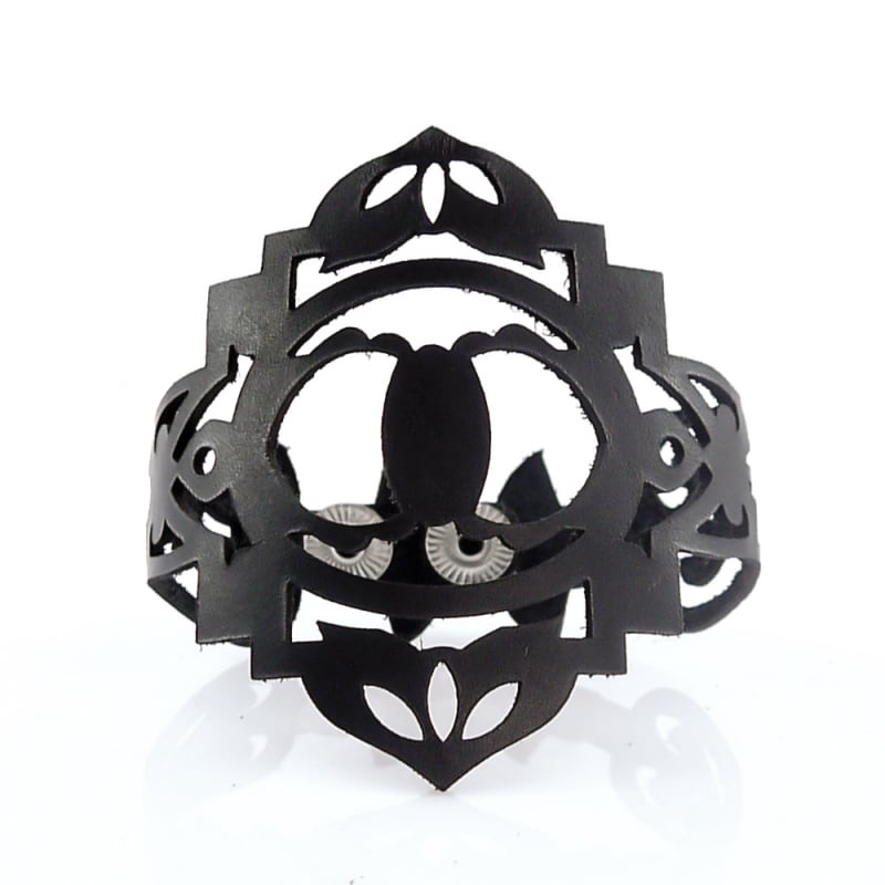 Браслет лазерная кожа Renaissance black leather
