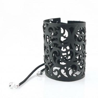 Жіночий шкіряний браслет Steampunk black leather