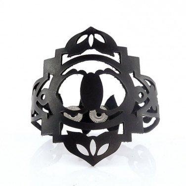Браслет лазерна шкіра Renaissance black leather
